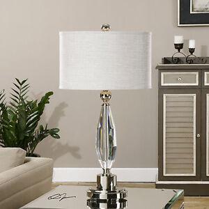 """TORLINO MODERN 31"""" CUT CRYSTAL TABLE LAMP BRUSHED NICKEL METAL UTTERMOST"""