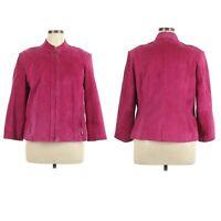 Preston & York Women's Sz XL Raspberry Suede Leather Zip Front Jacket Blazer