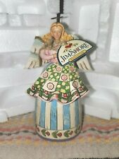 Jim Shore hand signed Stitch And Sew Til Your Aglow angel quilting mini box tag