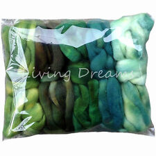 5oz Value Pack Gradient Colors hand dyed BFL Wool Roving for Spinning GREENERY