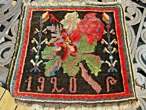 ANTIQUE  CAUCASIAN ARMENIAN DATED 1920  ROSE  KARABAKH  BAG FACE EXCELLENT