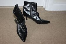 Ladies Black New Look Ankle Boots Size 39 UK 6 Comfy Shoes