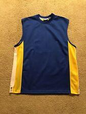 Premier International Blue Yellow Athletic Mesh Sleeveless Shirt Size L
