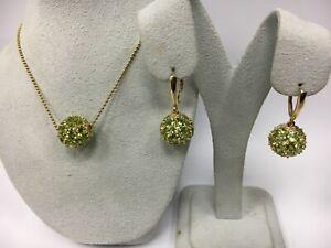 Beautiful 14k Yellow Peridot Pendant, and Earrings set