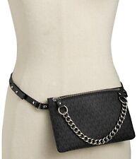 MICHAEL KORS MK Signature Fanny pack size SMALL belt Bag BLACK NWT