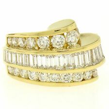 Charles Krypell 18k Gold 3.20ctw FINE E VVS Channel Diamond Wave Cocktail Ring