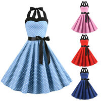 Womens Halter Neck Vintage Polka Dot Evening Party Rockabilly Prom Swing Dress