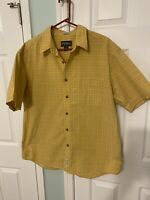 Eddie Bauer Button Up Shirt Men's XL Yellow Short Sleeve Corded Chambray Plaid