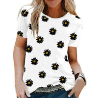 Woman Ladys Daisy Printed Short Sleeve T Shirt Tops Blouse Pullover Tee Summer