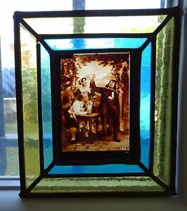 Antique French Leaded Stained Glass Window Panel  - Bistro Scene