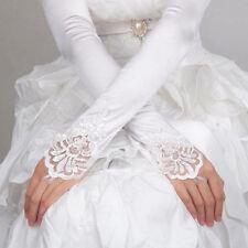 Long White lace Bride Satin Gloves Fingerless Party Costume Bridal Dress US