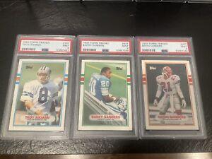 1989 TOPPS TRADED FB 3 card lot Barry Sanders Deion Sanders Troy Aikman PSA 9
