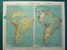 1921 Map ~ South America ~ Physical & Political Brazil Argentina Peru Bolivia