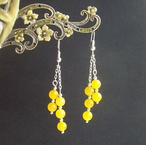 Pretty Yellow Quartz Bead Silver Plated Dangly Drop Earrings in Gift Bag