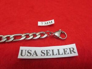 """16""""-40""""  7mm Stainless Steel Silver Figaro Rope Chain Necklace"""