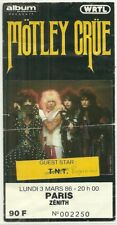 RARE / TICKET BILLET DE CONCERT - MOTLEY CRUE : LIVE A PARIS ( FRANCE ) 1986