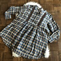 Wrangler 3XL Long Sleeve Plaid Flannel Tunic Shirt Top Western Blue Brown Lace