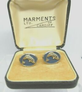 Vintage MARMENTS TROUT FISH BLUE  Cuff Links, Gold Coloured, Boxed,