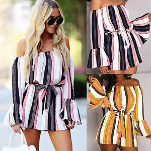 Shorts Pants Women's Off Shoulder Playsuit Long Sleeve Jumpsuit  Clubwear#--#