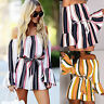 Women's Off Shoulder Playsuit Long Sleeve Jumpsuit Romper Shorts Pants Clubwear