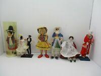 6 Vintage Souvenir Dolls Welsh Asian Etc