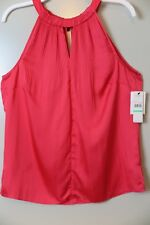 NWT Laundry by Shelli Segal Geranium Pleated-Neck Halter Top Size 8 MSRP $115