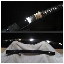 Leather Handle Japan Samurai Sword Manganese Steel Blade Ninja Wakizashi Katana