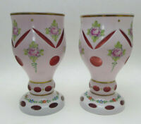 PAIR of Bohemian Czech Cased Glass Vases White Cut To Red w/ Label 6.5 in.