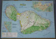 Maui Hawaiian Islands Map Aloha James A. Bier Vintage Art Poster Print