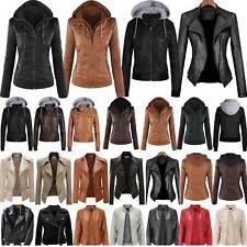 Womens Faux Leather Hooded Jacket Ladies Biker Jackets Coat Slim Fit Top Outwear