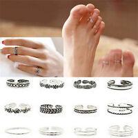 12PCs set Celebrity Jewelry Retro Silver Adjustable Open Toe Ring Finger Foot