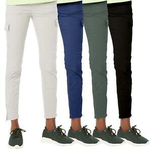 EX M&S Womens Cargo Trousers Ladies Zip Leg Stretch Chino Pants All Waist UK6-24
