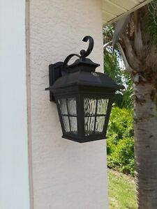 Altair LED Lantern Brushed Patina Finish, Outdoor Clear Glass Water AL-2163