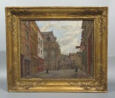 Vintage French Oil Painting, Street Scene in Lille, Texaco Gas Station, Signed