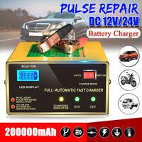 Car Battery Charger Acid 12V/24V 200000mAh Pulse Repair LCD Lead Intelligent