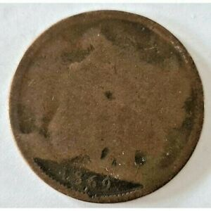Rare 1869 Penny Coin Queen Victoria Clear Date