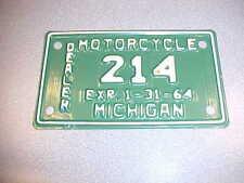 1964 MICHIGAN MOTORCYCLE DEALER LICENSE PLATE HARLEY