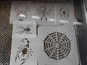 Airbrush Temporary Tattoo Stencil Set 281 Spiders & Webb New Island Tribal!