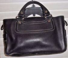 Celine Paris ~ Art to Wear ~ Black Leather Rectangular Handbag with Logo