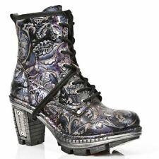 Block Heel 100% Leather Floral Boots for Women