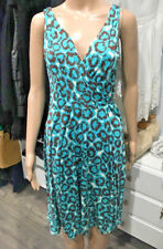 Diane von Furstenberg DVF Sleeveless Turquoise Animal Print Wrap Dress Size 6