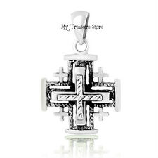 925 Sterling Silver Jerusalem Cross Pendant Blessed in Holy Sepulchre Holy Land
