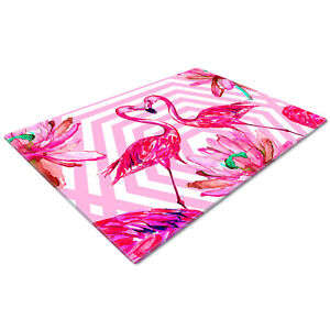 Glass Chopping Cutting Cutting Board Work Top Saver Large Retro Pink Flamingo