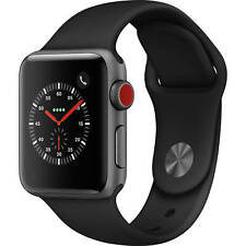 Apple Watch S3 38mm GPS and Cellular Space Gray Case Black Sport Band MQJP2LL/A