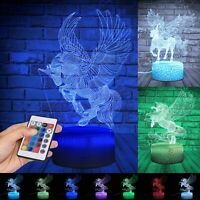 3D Animal Unicorn Visual illusion Lamp LED Night Light Colors Touch Kids Room