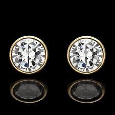 2CT Created Diamond Round Bezel Earrings 14K Real Yellow Gold Studs Round VVS1