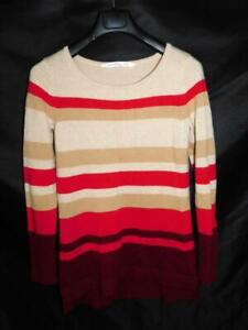 Athleta M Wine Red Beige Brown Cashmere Lodge Stripe Sweater Soft Knit Pullover