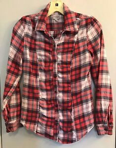 Charlotte Russe Plaid Flannel Shirt Sz XS Roll Tab Sleeve Front & Back Buttons