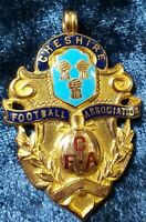 UK 1930 Solid Gold badge Cheshire County Football Association Champion medal