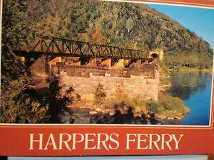 AMAZING POST CARD RAILROAD BRIDGE CROSSING POTOMAC RIVER HARPERS FERRY WEST VIRG